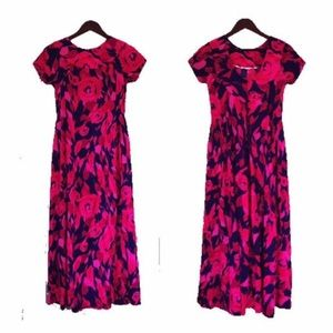 Vintage 70s Pink Floral Hawaiian Maxi Dress Size S
